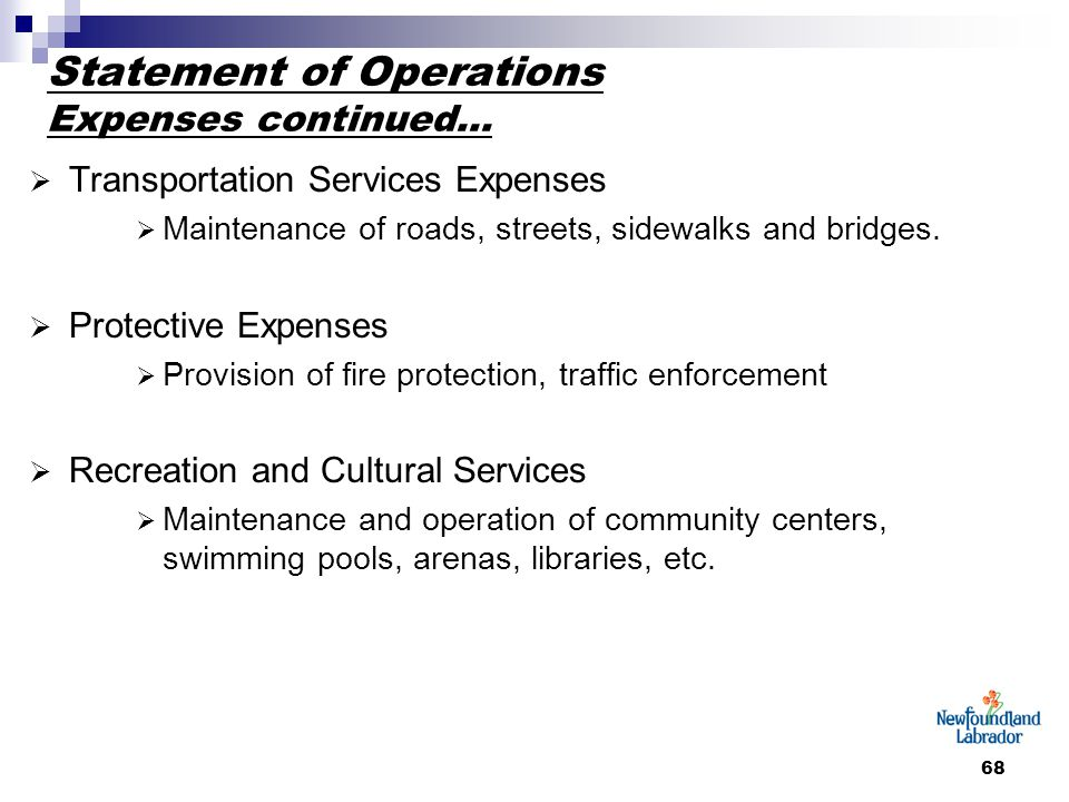 68 Statement of Operations Expenses continued…  Transportation Services Expenses  Maintenance of roads, streets, sidewalks and bridges.