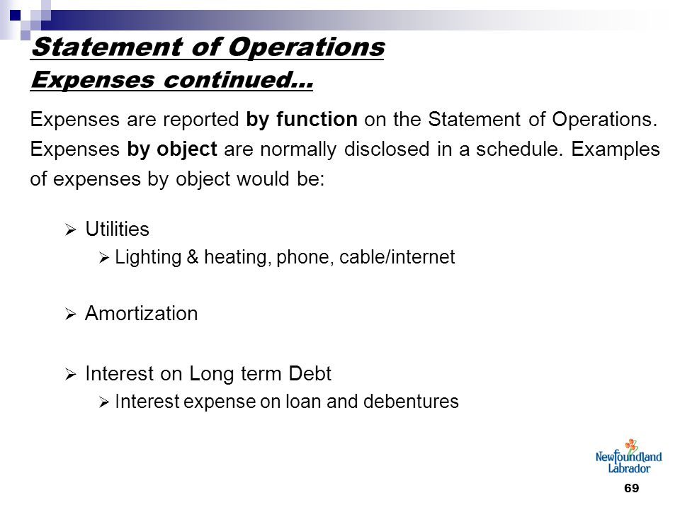 69 Statement of Operations Expenses continued… Expenses are reported by function on the Statement of Operations. Expenses by object are normally discl
