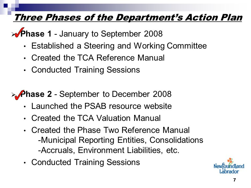 7 Three Phases of the Department's Action Plan  Phase 1 - January to September 2008 Established a Steering and Working Committee Created the TCA Refe