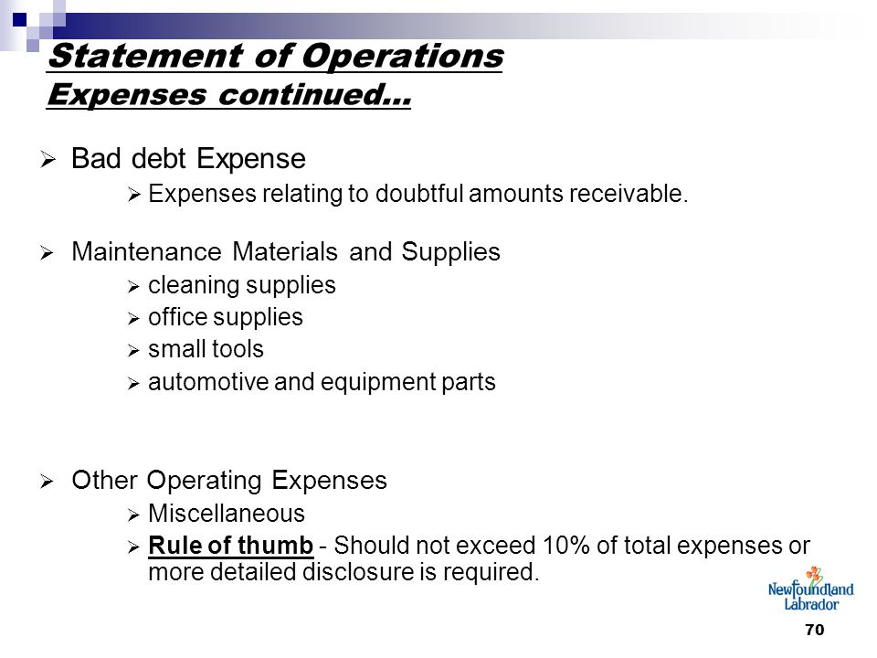 70 Statement of Operations Expenses continued…  Bad debt Expense  Expenses relating to doubtful amounts receivable.  Maintenance Materials and Supp