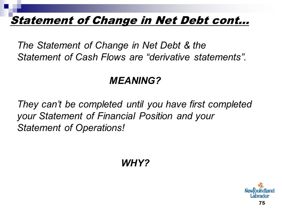 75 Statement of Change in Net Debt cont… The Statement of Change in Net Debt & the Statement of Cash Flows are derivative statements .