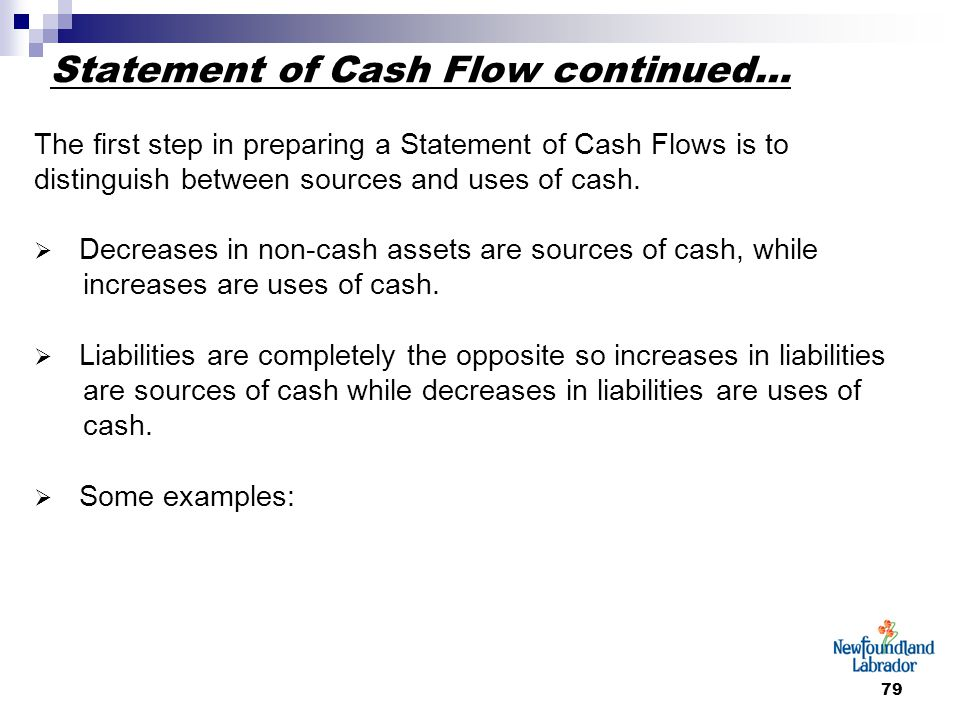 79 Statement of Cash Flow continued… The first step in preparing a Statement of Cash Flows is to distinguish between sources and uses of cash.