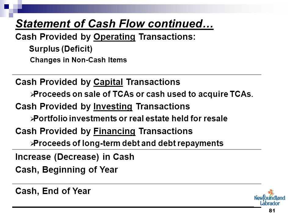 81 Statement of Cash Flow continued… Cash Provided by Operating Transactions: Surplus (Deficit) Changes in Non-Cash Items Cash Provided by Capital Transactions  Proceeds on sale of TCAs or cash used to acquire TCAs.