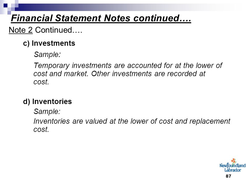 87 Financial Statement Notes continued…. Note 2 Continued…. c) Investments Sample : Temporary investments are accounted for at the lower of cost and m