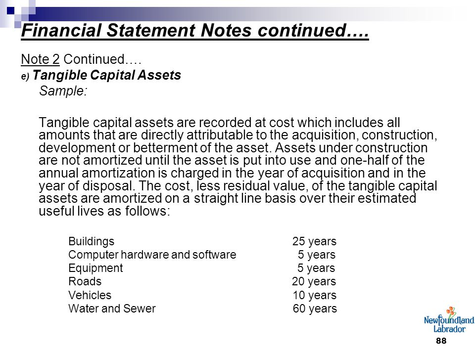 88 Financial Statement Notes continued…. Note 2 Continued…. e) Tangible Capital Assets Sample: Tangible capital assets are recorded at cost which incl
