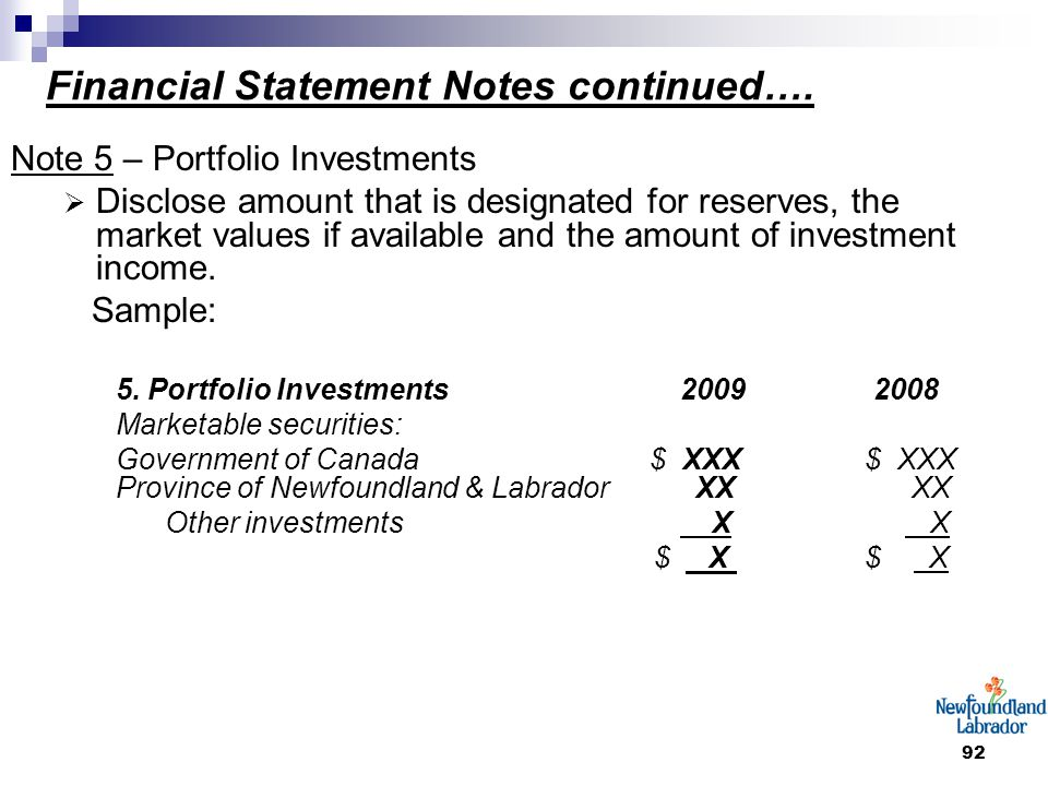 92 Financial Statement Notes continued…. Note 5 – Portfolio Investments  Disclose amount that is designated for reserves, the market values if availa