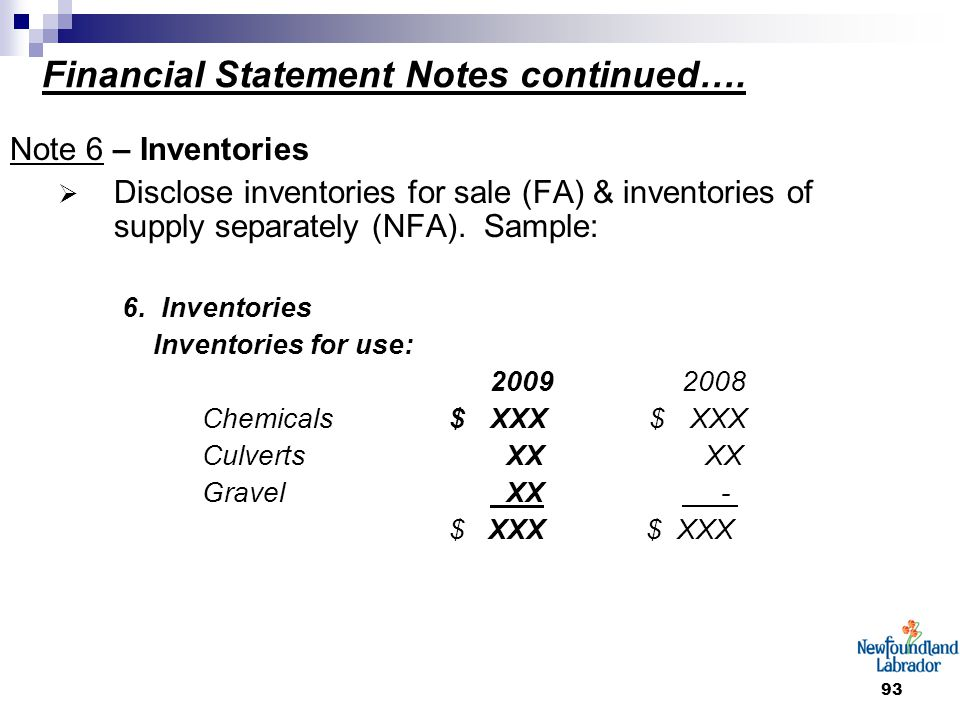 93 Financial Statement Notes continued….