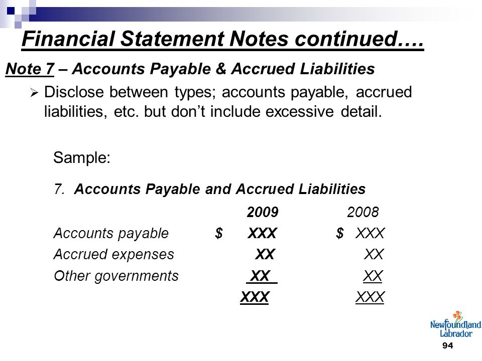 94 Financial Statement Notes continued…. Note 7 – Accounts Payable & Accrued Liabilities  Disclose between types; accounts payable, accrued liabiliti