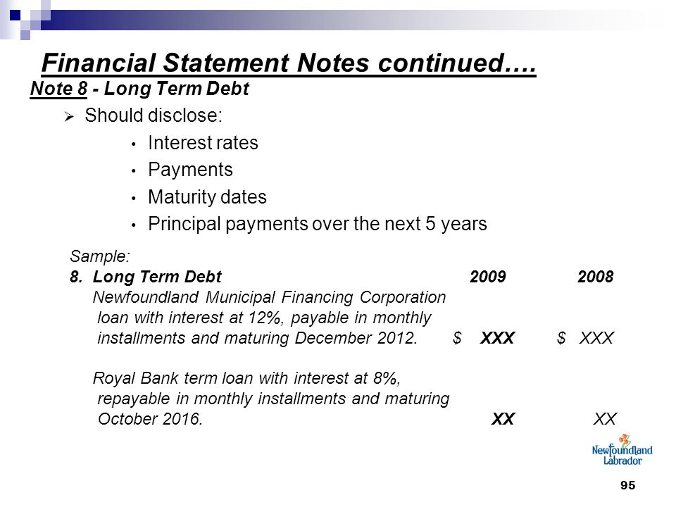95 Financial Statement Notes continued….