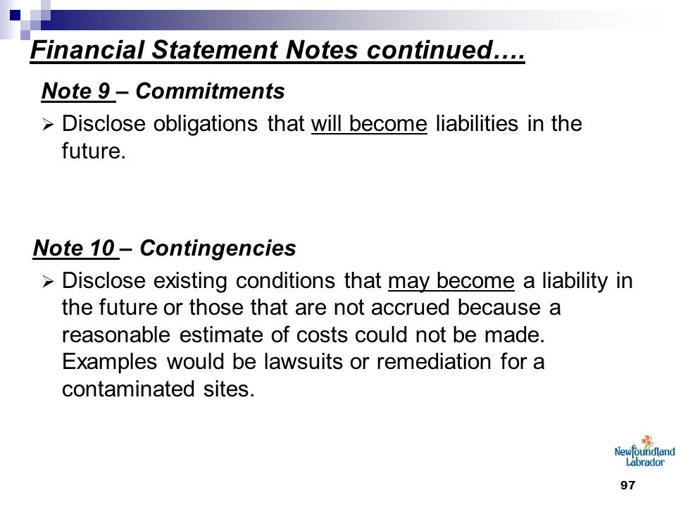 97 Financial Statement Notes continued….