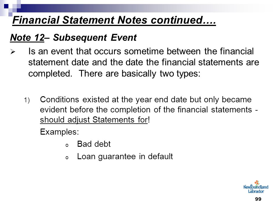 99 Financial Statement Notes continued….