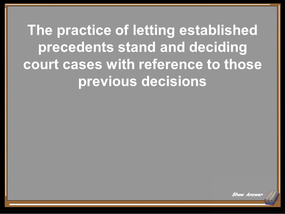 What is LEGAL PRECEDENT? Back to Board