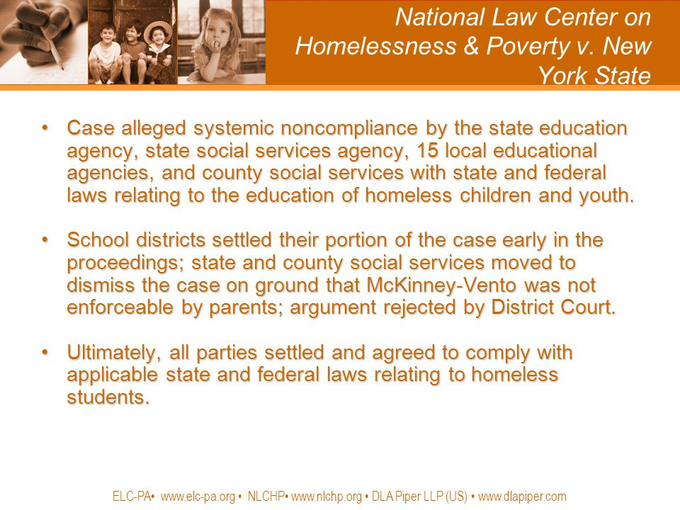 National Law Center on Homelessness & Poverty v. New York State Case alleged systemic noncompliance by the state education agency, state social servic