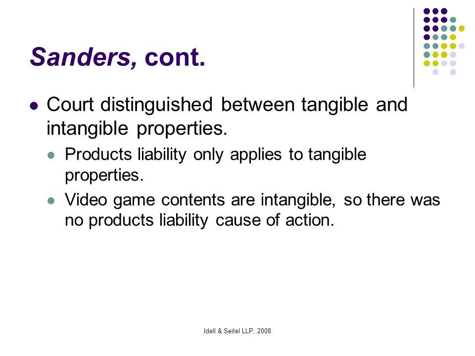 Idell & Seitel LLP, 2008 Sanders, cont.