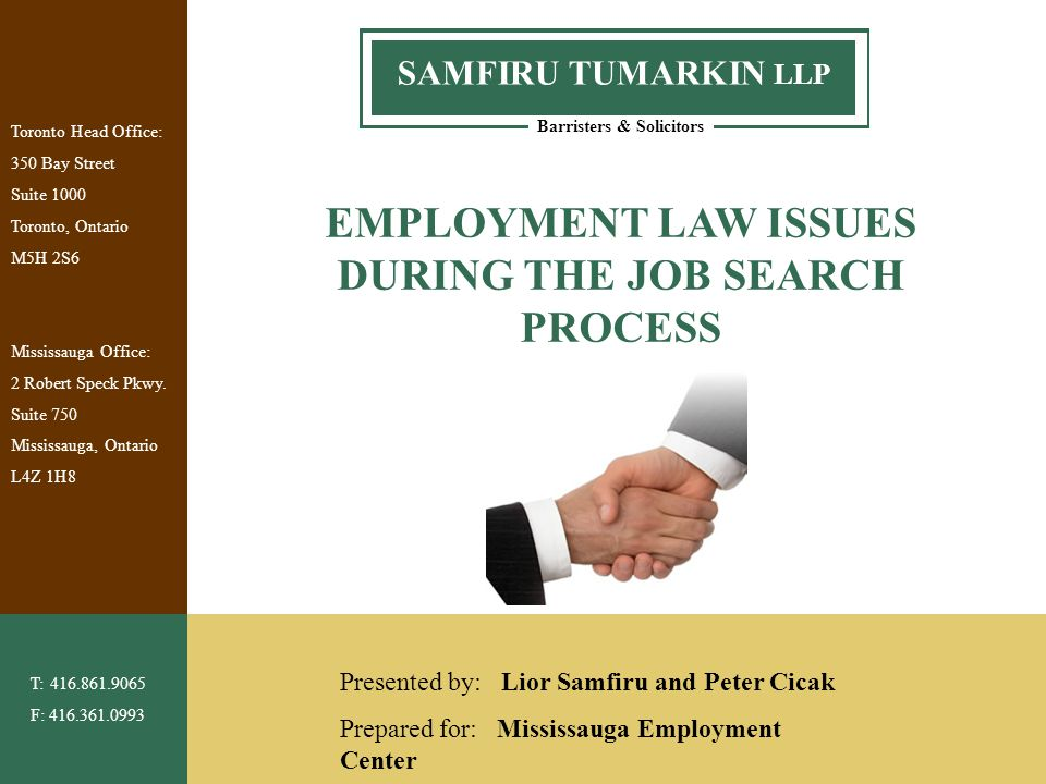 1 Barristers & Solicitors SAMFIRU TUMARKIN LLP Toronto Head Office: 350 Bay Street Suite 1000 Toronto, Ontario M5H 2S6 Mississauga Office: 2 Robert Sp