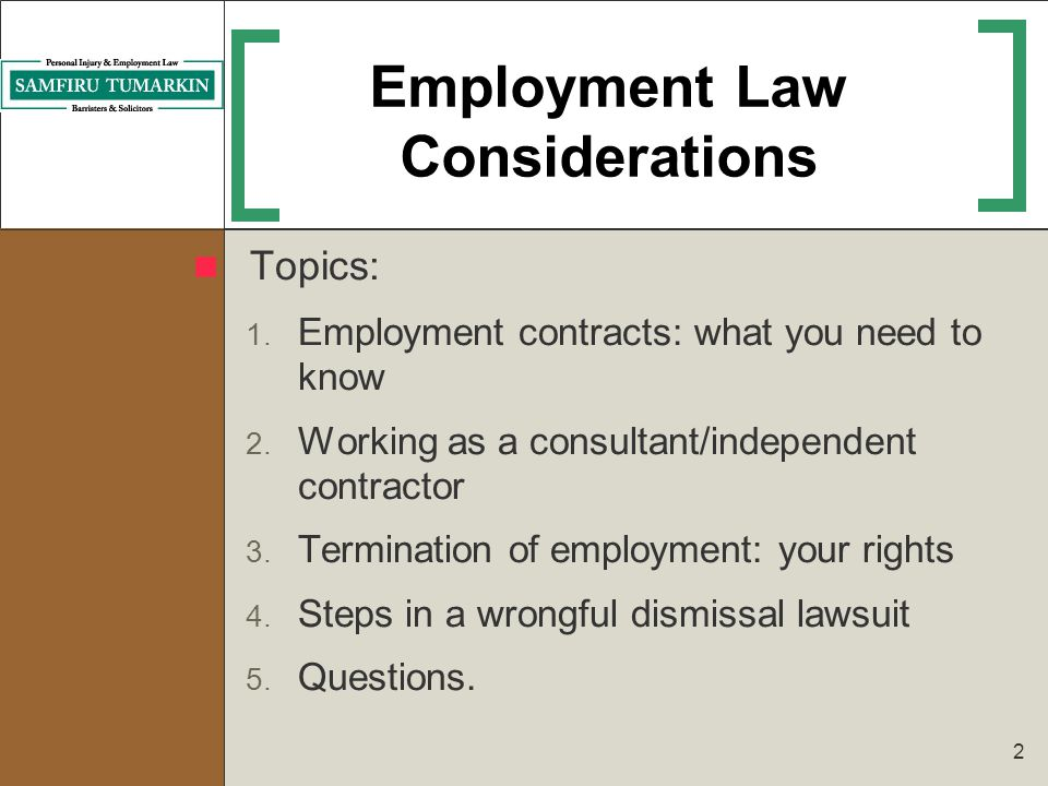 2 Employment Law Considerations Topics: 1. Employment contracts: what you need to know 2. Working as a consultant/independent contractor 3. Terminatio