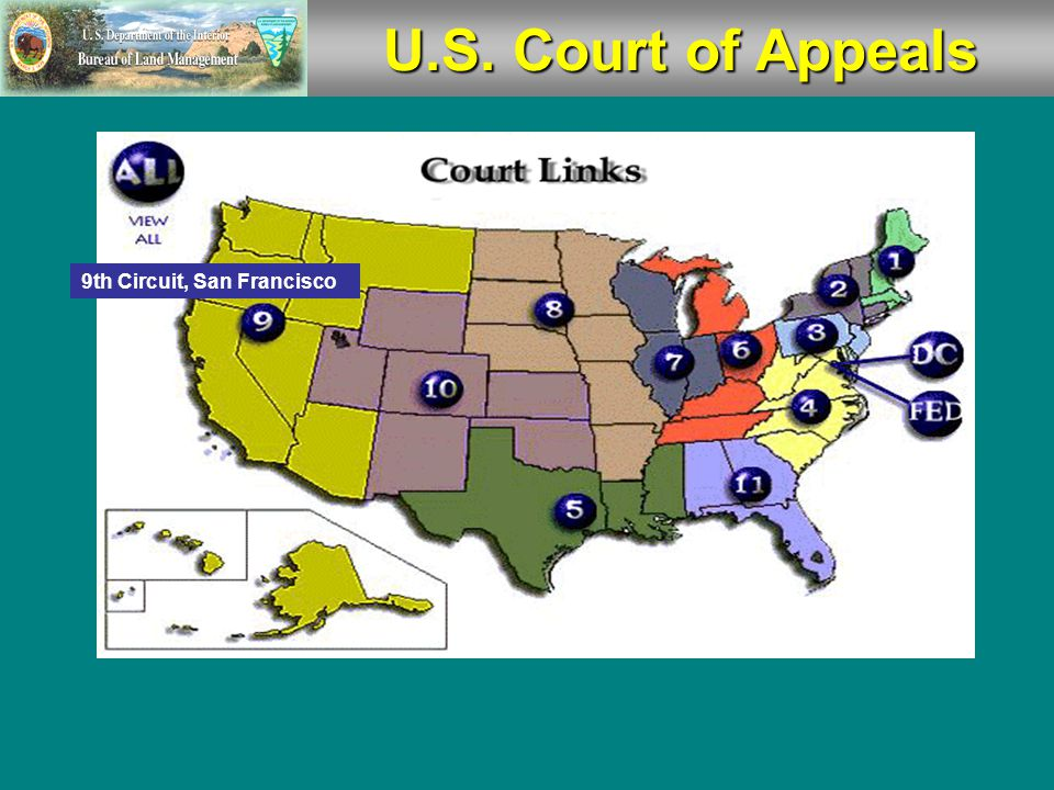  There are 94 U.S. Judicial Districts organized into 12 regional circuits, each of which has a U.S. Court of Appeals.  The Court of Appeals for the