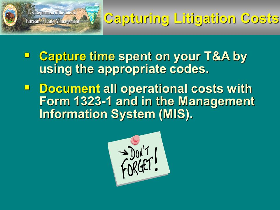  BLM Form 1323-1, Reimbursable Project Log, captures all related costs.