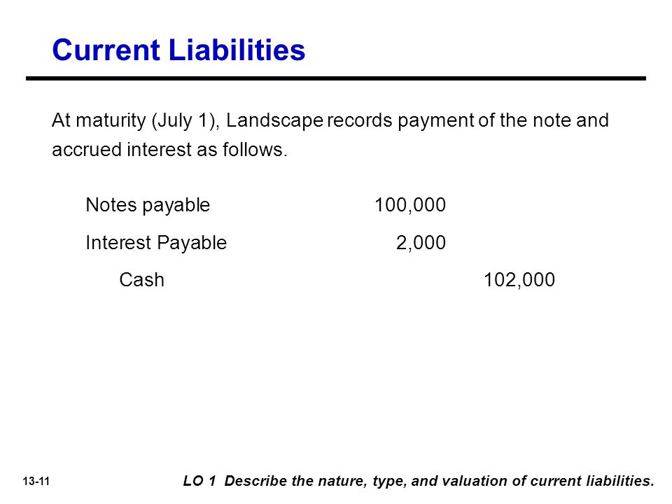 13-11 At maturity (July 1), Landscape records payment of the note and accrued interest as follows.
