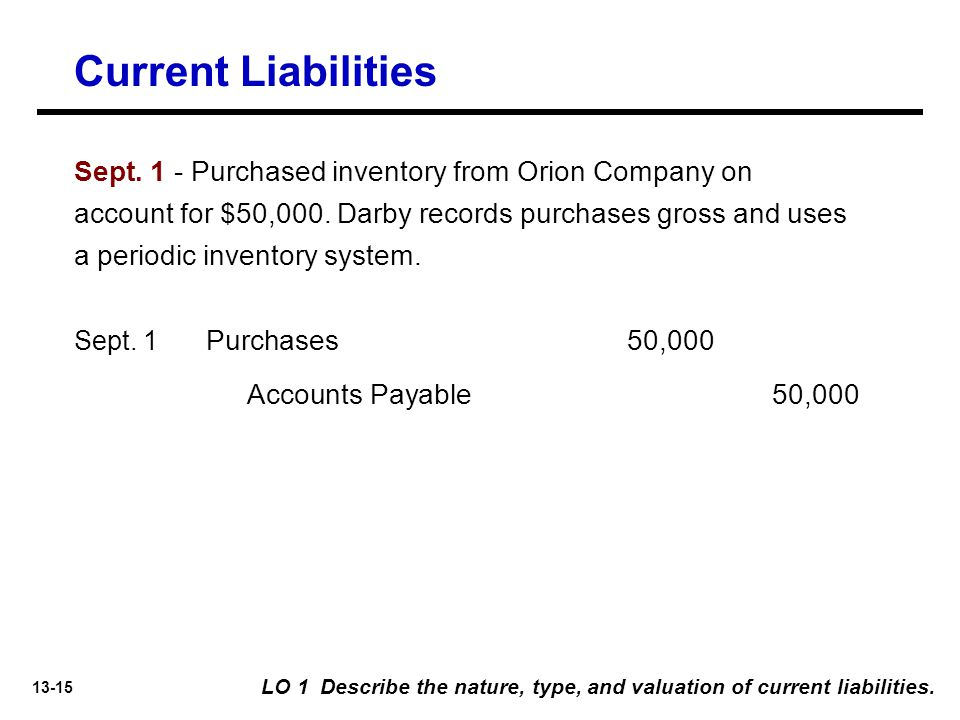 13-15 Sept.1 - Purchased inventory from Orion Company on account for $50,000.