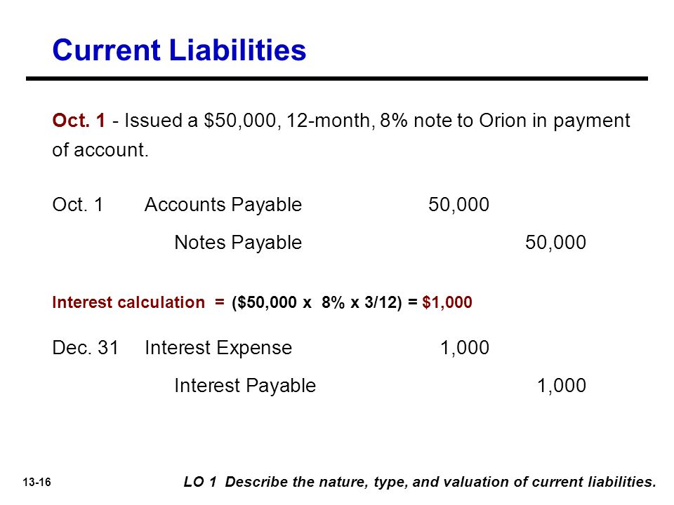 13-16 LO 1 Describe the nature, type, and valuation of current liabilities.