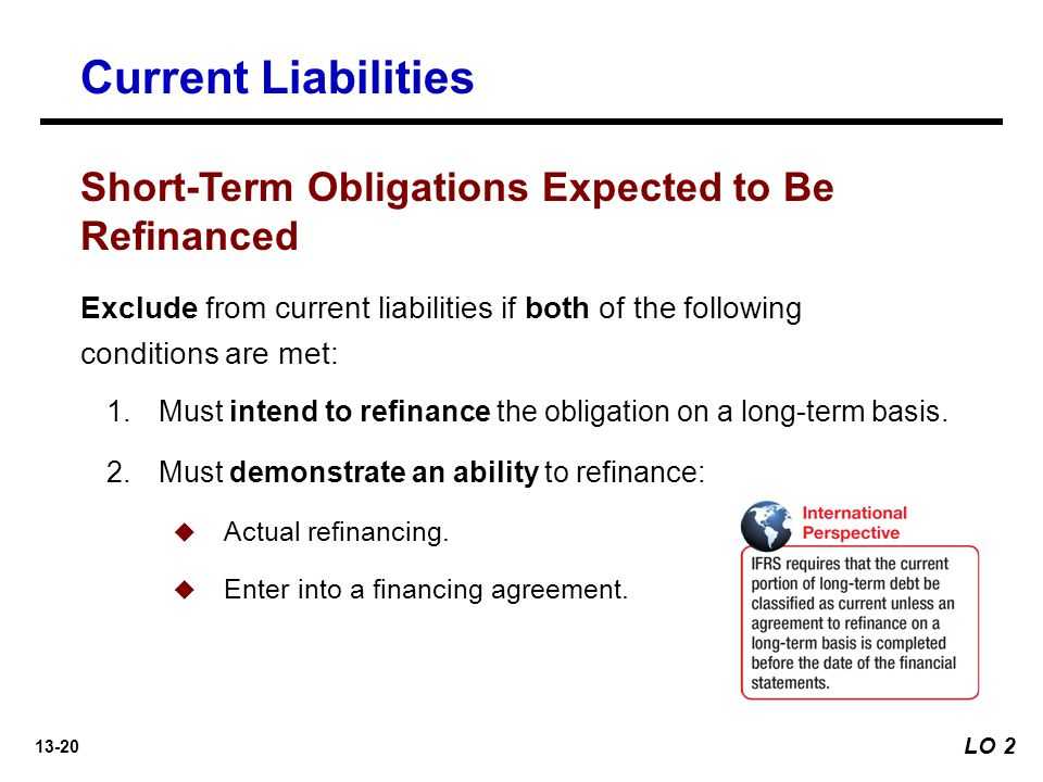 13-20 Exclude from current liabilities if both of the following conditions are met: Short-Term Obligations Expected to Be Refinanced 1.Must intend to refinance the obligation on a long-term basis.