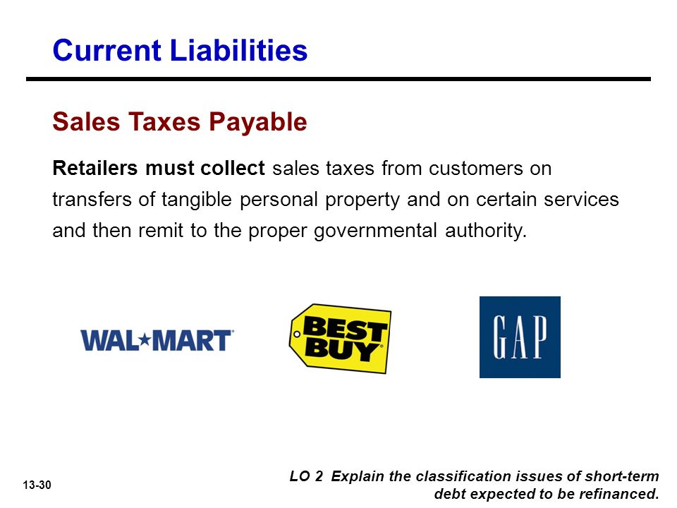 13-30 Retailers must collect sales taxes from customers on transfers of tangible personal property and on certain services and then remit to the proper governmental authority.