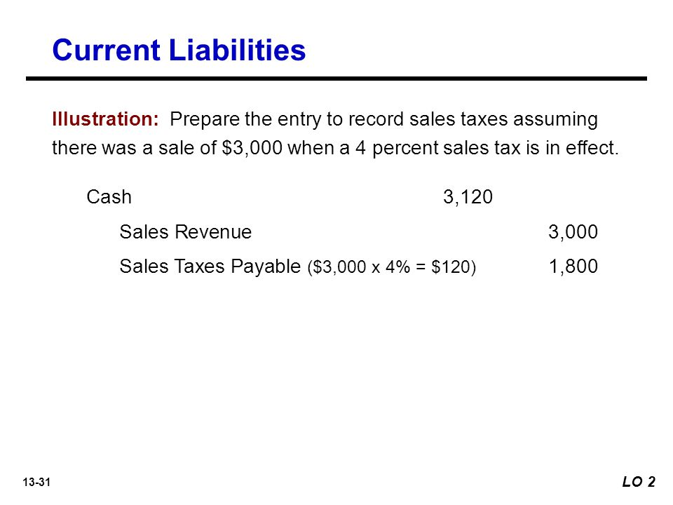 13-31 Cash 3,120 Sales Revenue3,000 Sales Taxes Payable ($3,000 x 4% = $120) 1,800 Illustration: Prepare the entry to record sales taxes assuming there was a sale of $3,000 when a 4 percent sales tax is in effect.