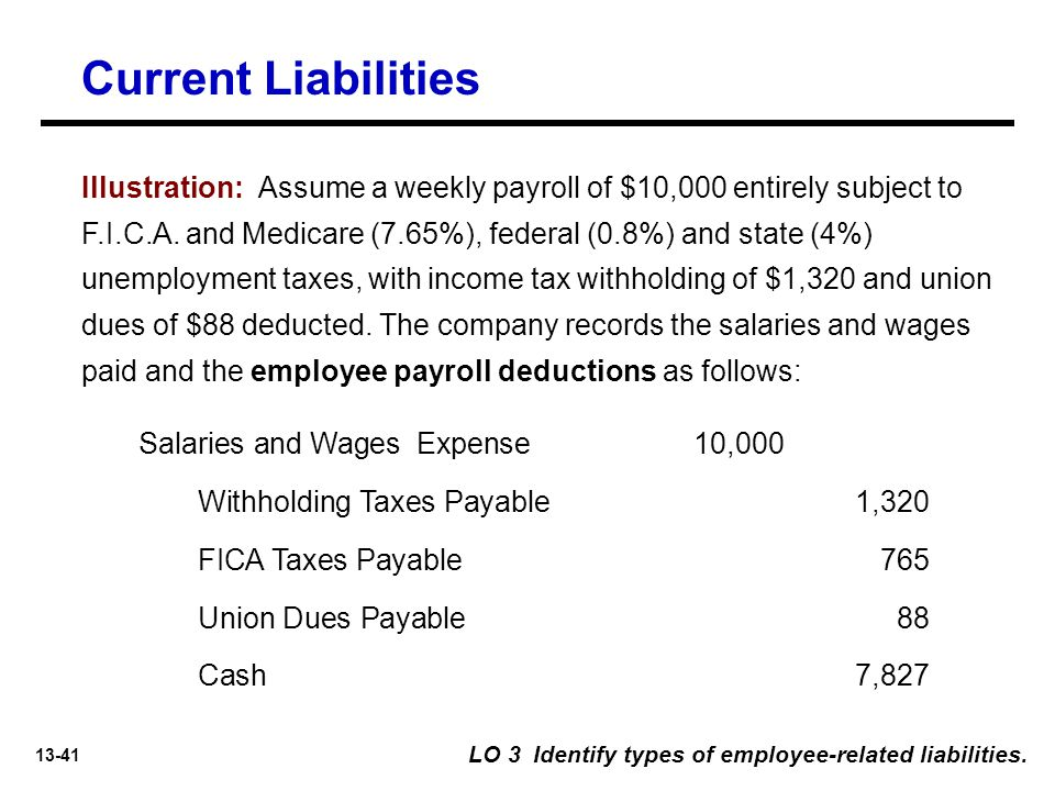 13-41 Illustration: Assume a weekly payroll of $10,000 entirely subject to F.I.C.A.