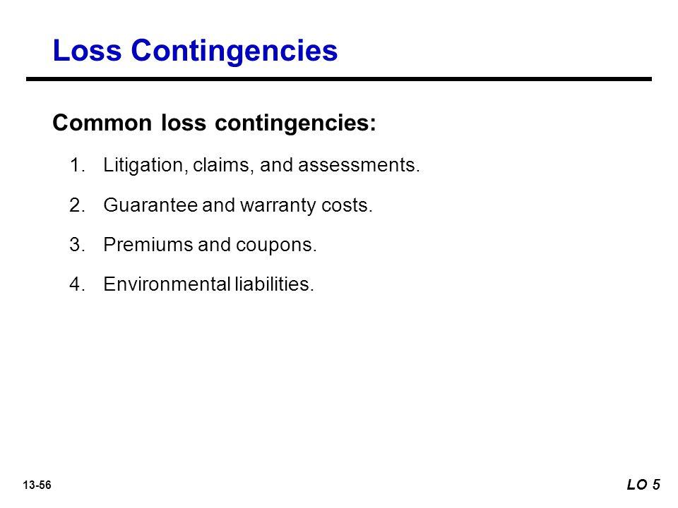 13-56 Loss Contingencies Common loss contingencies: 1.Litigation, claims, and assessments.