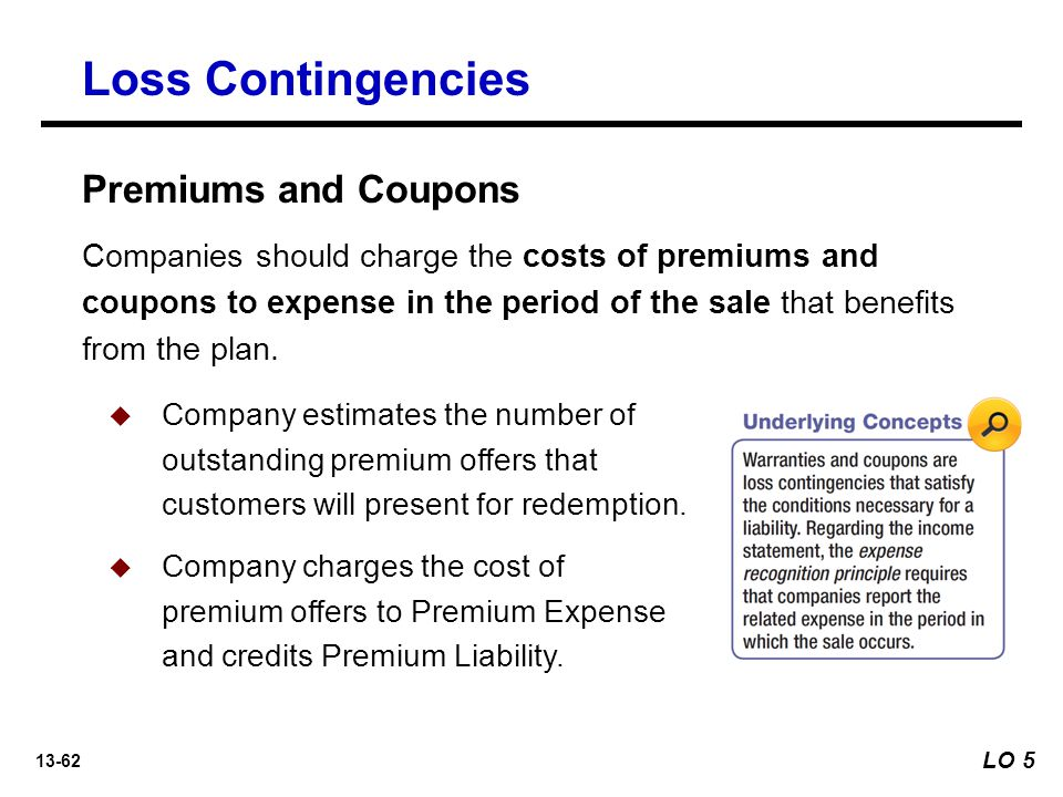 13-62 Loss Contingencies Companies should charge the costs of premiums and coupons to expense in the period of the sale that benefits from the plan.