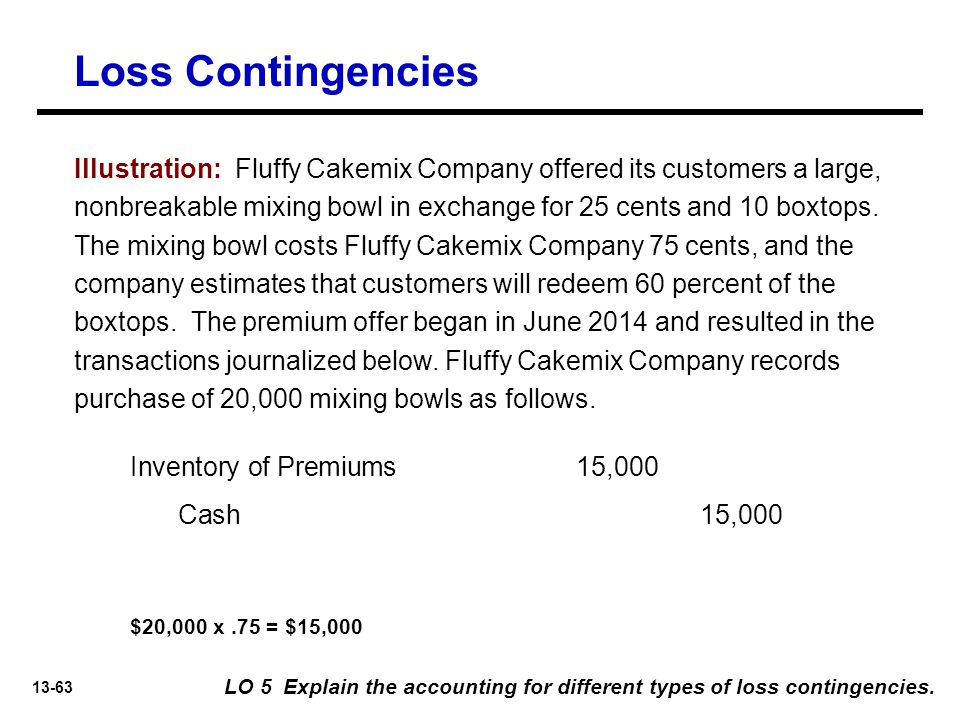 13-63 Loss Contingencies LO 5 Explain the accounting for different types of loss contingencies.