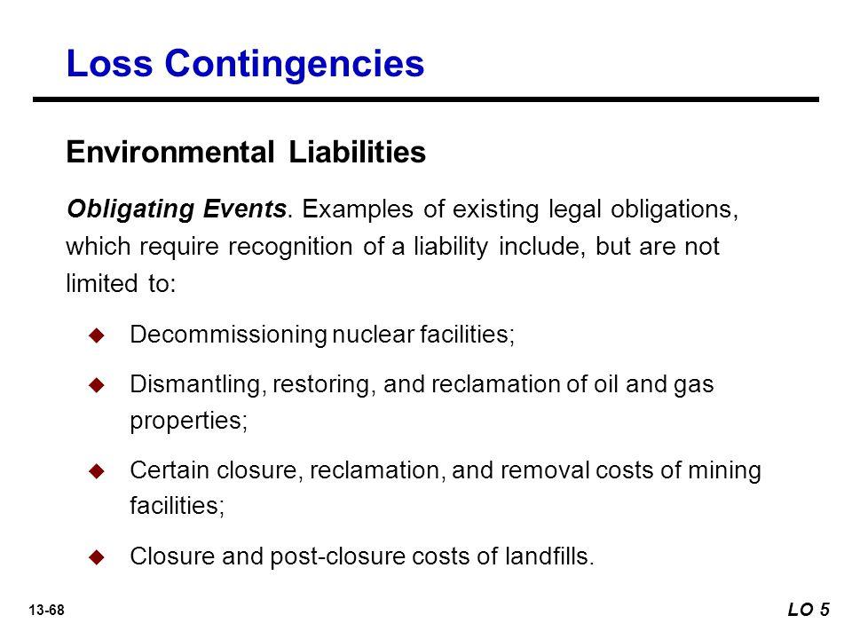13-68 Loss Contingencies Environmental Liabilities Obligating Events.