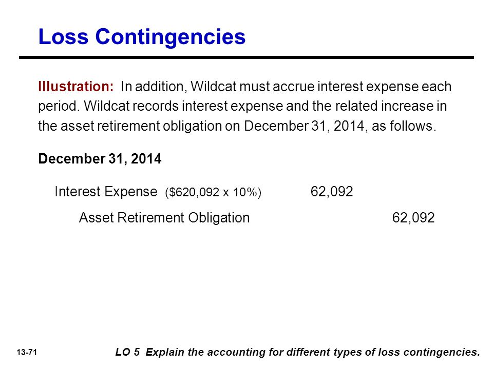 13-71 Loss Contingencies LO 5 Explain the accounting for different types of loss contingencies.