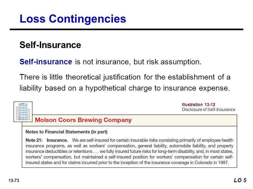 13-73 Loss Contingencies Self-insurance is not insurance, but risk assumption.