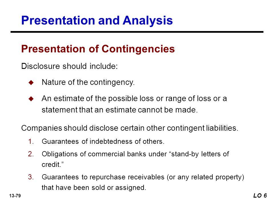 13-79 Companies should disclose certain other contingent liabilities.