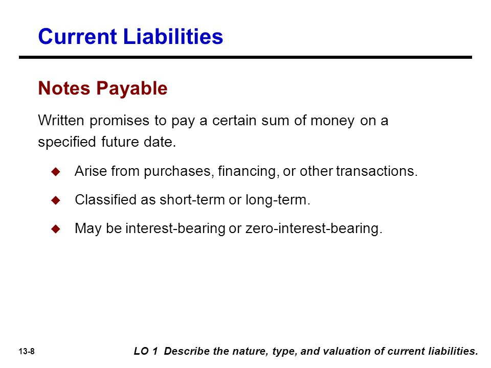 13-8 Written promises to pay a certain sum of money on a specified future date.