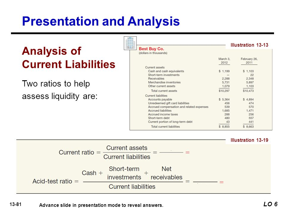 13-81 Two ratios to help assess liquidity are: Illustration 13-19 LO 6 Presentation and Analysis Analysis of Current Liabilities Advance slide in presentation mode to reveal answers.