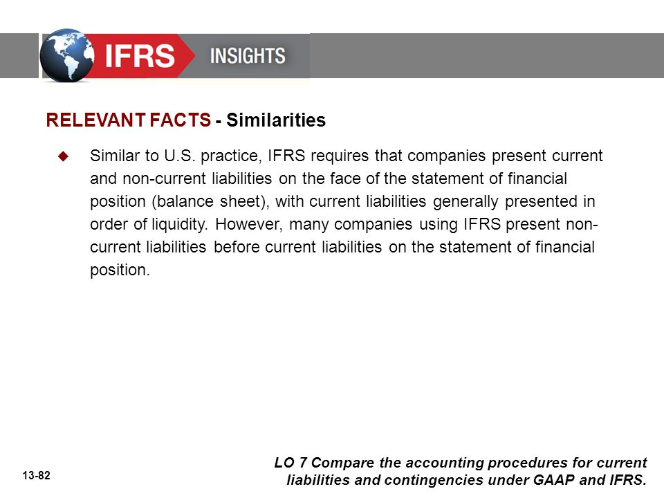 13-82 LO 7 Compare the accounting procedures for current liabilities and contingencies under GAAP and IFRS.