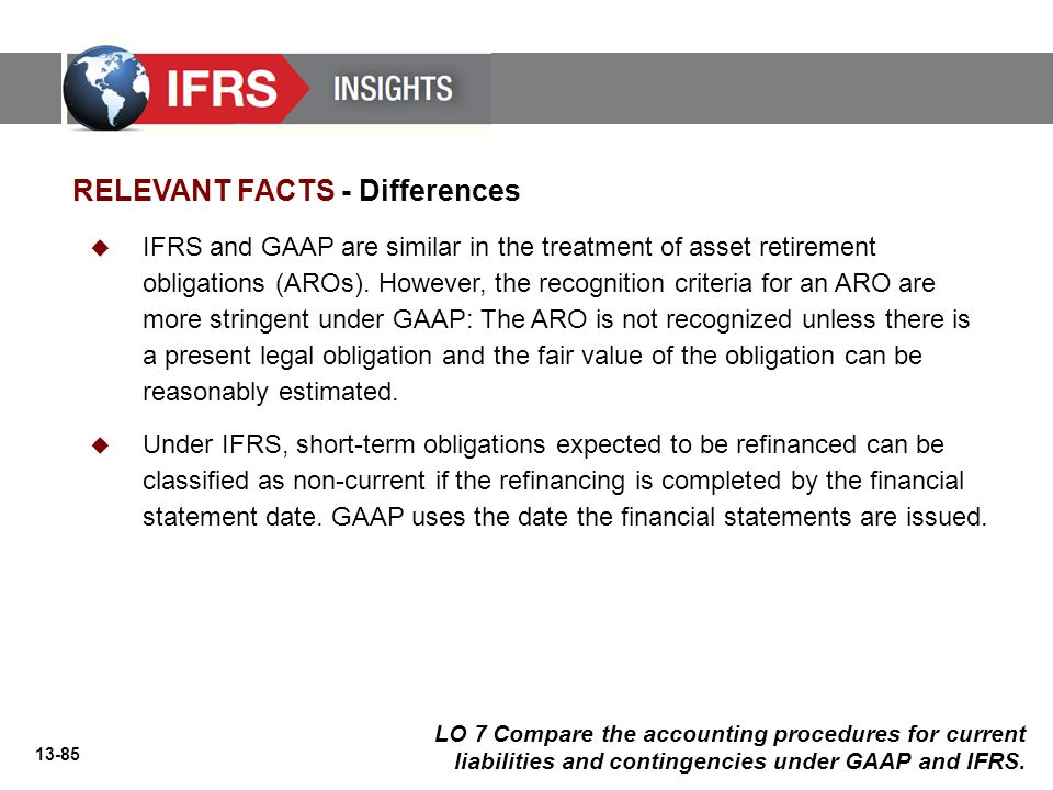 13-85 RELEVANT FACTS - Differences  IFRS and GAAP are similar in the treatment of asset retirement obligations (AROs).