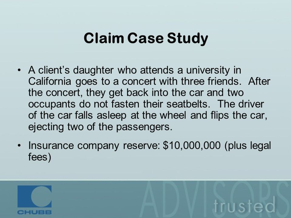 Claim Case Study A client's daughter who attends a university in California goes to a concert with three friends.