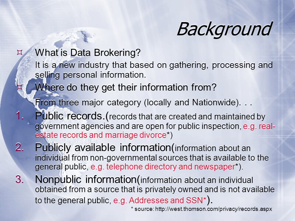 Background  What is Data Brokering.