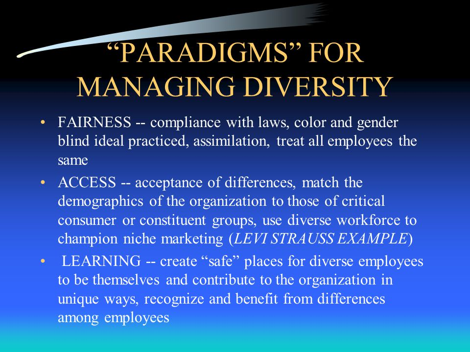 PARADIGMS FOR MANAGING DIVERSITY FAIRNESS -- compliance with laws, color and gender blind ideal practiced, assimilation, treat all employees the same ACCESS -- acceptance of differences, match the demographics of the organization to those of critical consumer or constituent groups, use diverse workforce to champion niche marketing (LEVI STRAUSS EXAMPLE) LEARNING -- create safe places for diverse employees to be themselves and contribute to the organization in unique ways, recognize and benefit from differences among employees