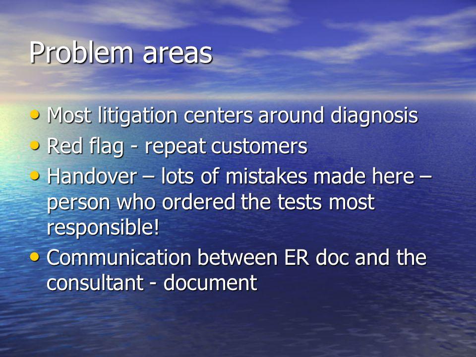 Problem areas Most litigation centers around diagnosis Most litigation centers around diagnosis Red flag - repeat customers Red flag - repeat customer