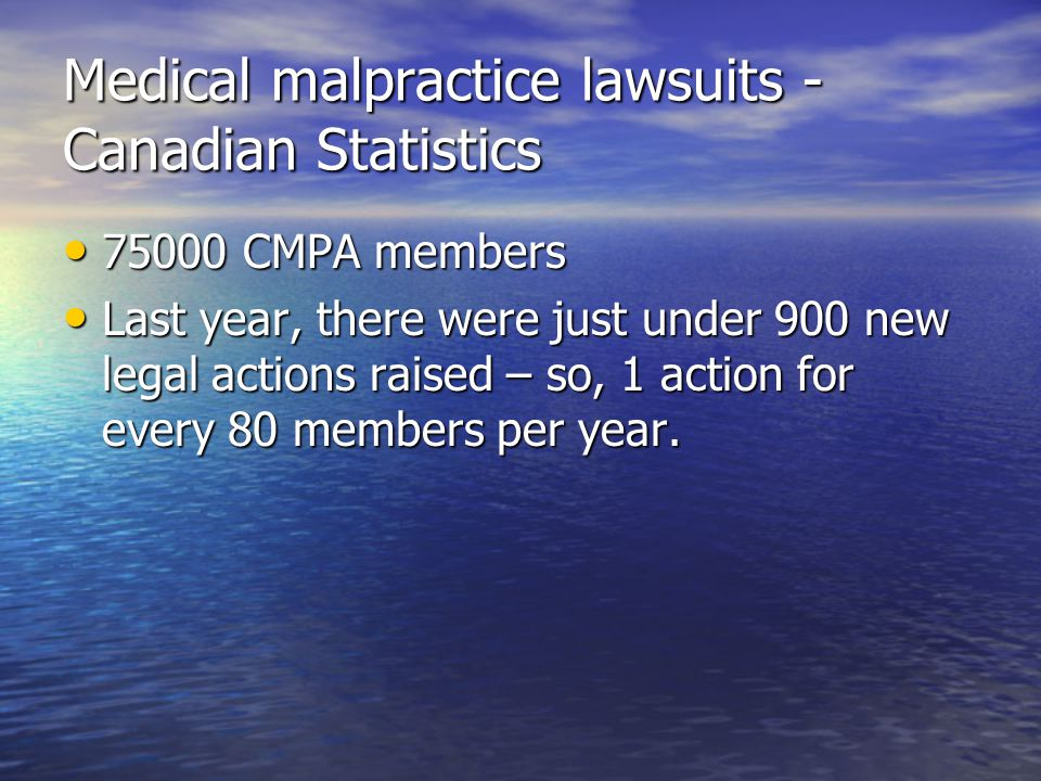 Medical malpractice lawsuits - Canadian Statistics 75000 CMPA members 75000 CMPA members Last year, there were just under 900 new legal actions raised