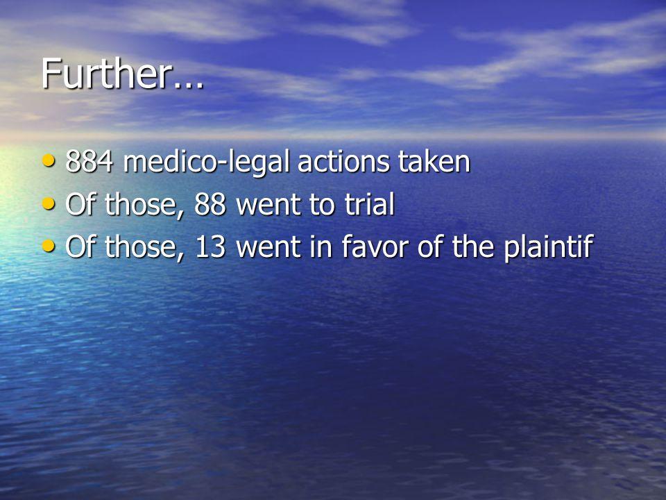 Further… 884 medico-legal actions taken 884 medico-legal actions taken Of those, 88 went to trial Of those, 88 went to trial Of those, 13 went in favo
