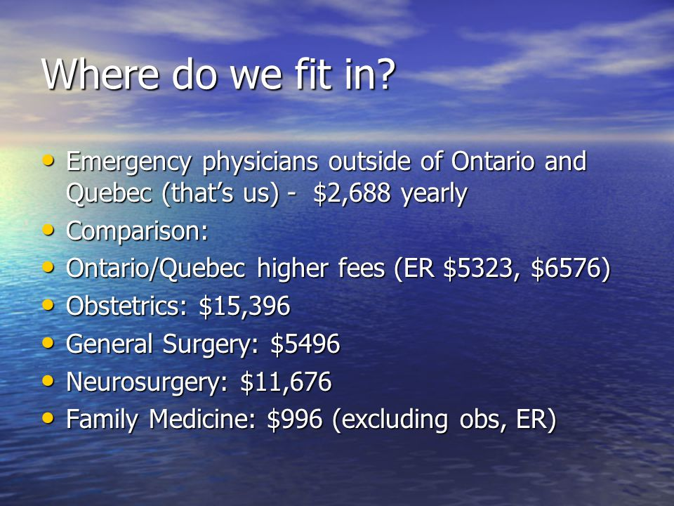 Where do we fit in? Emergency physicians outside of Ontario and Quebec (that's us) - $2,688 yearly Emergency physicians outside of Ontario and Quebec