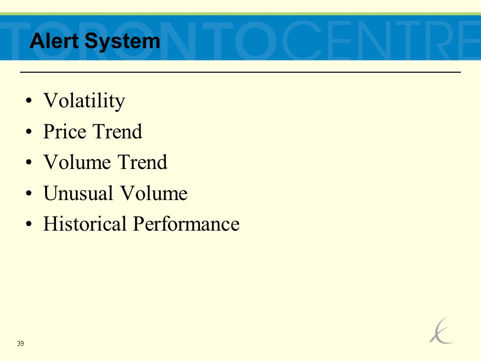 39 Volatility Price Trend Volume Trend Unusual Volume Historical Performance Alert System