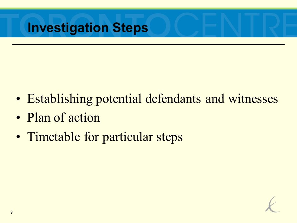 9 Establishing potential defendants and witnesses Plan of action Timetable for particular steps Investigation Steps