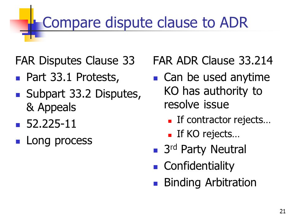21 Compare dispute clause to ADR FAR Disputes Clause 33 Part 33.1 Protests, Subpart 33.2 Disputes, & Appeals 52.225-11 Long process FAR ADR Clause 33.214 Can be used anytime KO has authority to resolve issue If contractor rejects… If KO rejects… 3 rd Party Neutral Confidentiality Binding Arbitration